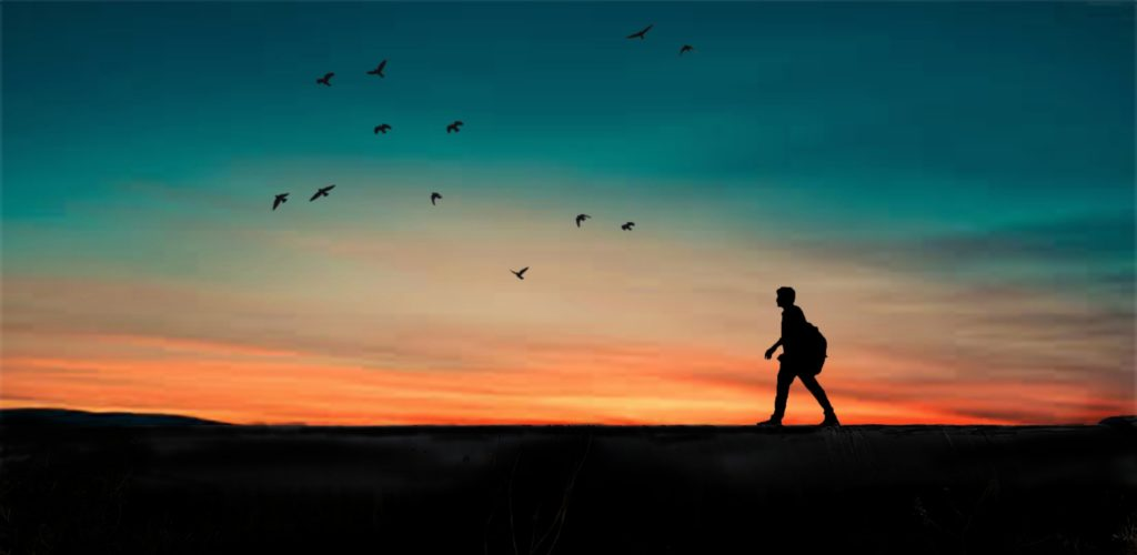 silhouette of a boy walking with a backpack against the horizon